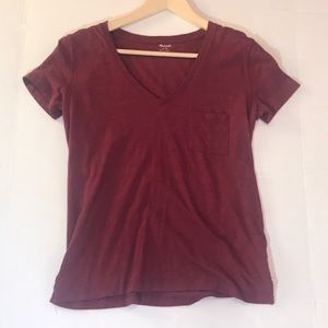 Burgundy Whisper Cotton V-Neck Pocket Tee EUC